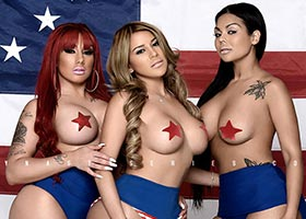 Curvy J @OfficialCurvy_J, Jazzi @5starjazzi, and Franchesca @checa0812: Fourth of July – Jose Guerra
