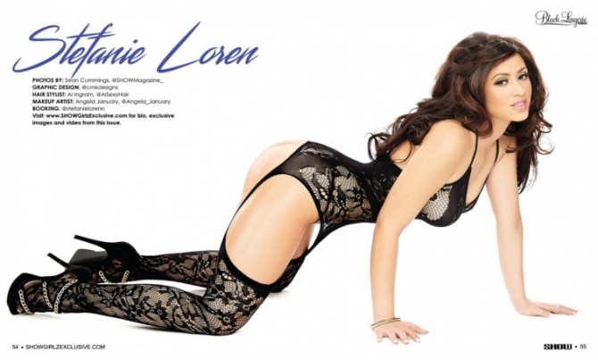 Stephanie Loren in SHOW Magazine Black Lingerie