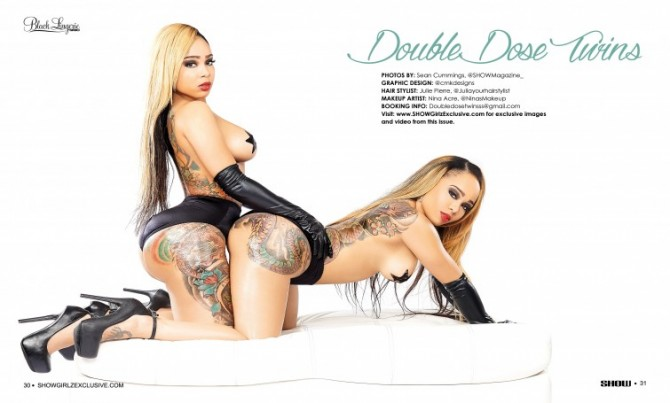 Double Dose Twins in SHOW Magazine Black Lingerie