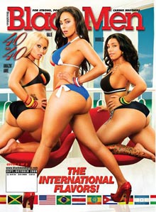 Amazin Amie, Bubbles, and Halie on cover of Blackmen Magazine 40 on 40 International