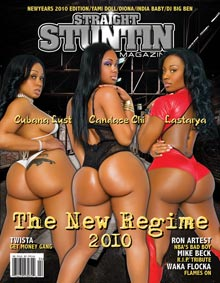 Cubana Lusta, Lastarya, and Candace Chi on cover of Straight Stuntin – shot by Patrick Adams