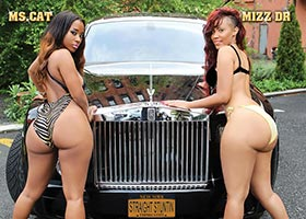 Cat Washington @mscat215 and Mizz DR @mizzdr on the cover of DynastySeries Straight Stuntin Issue
