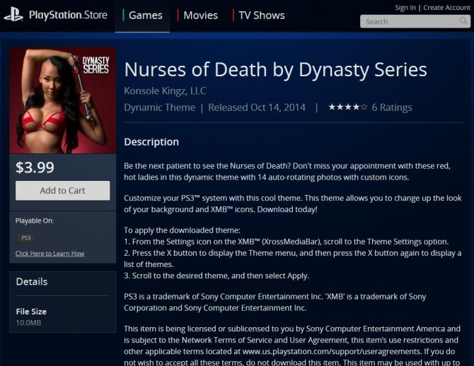Nurses of Death PlayStation 3 Theme Available Now