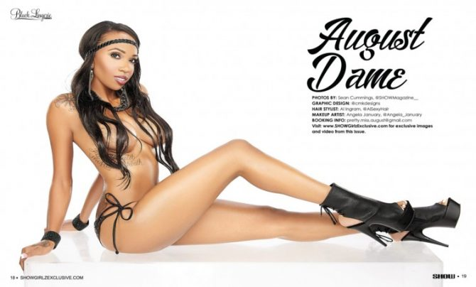 August Dame in SHOW Magazine Black Lingerie